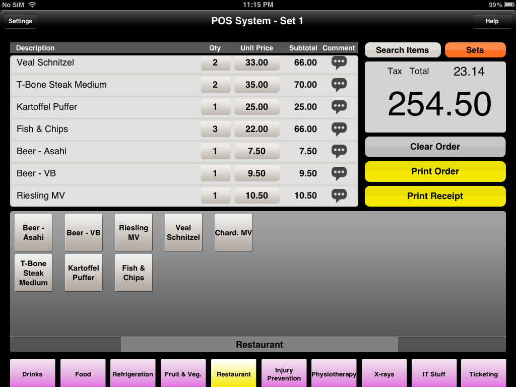 POSiSales - Checkout screen