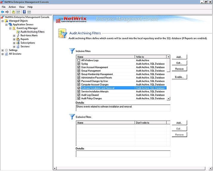 Audit archiving filters node