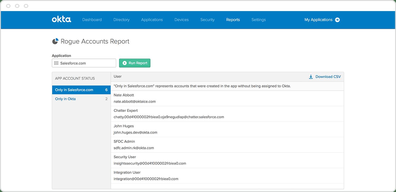 Rogue accounts report