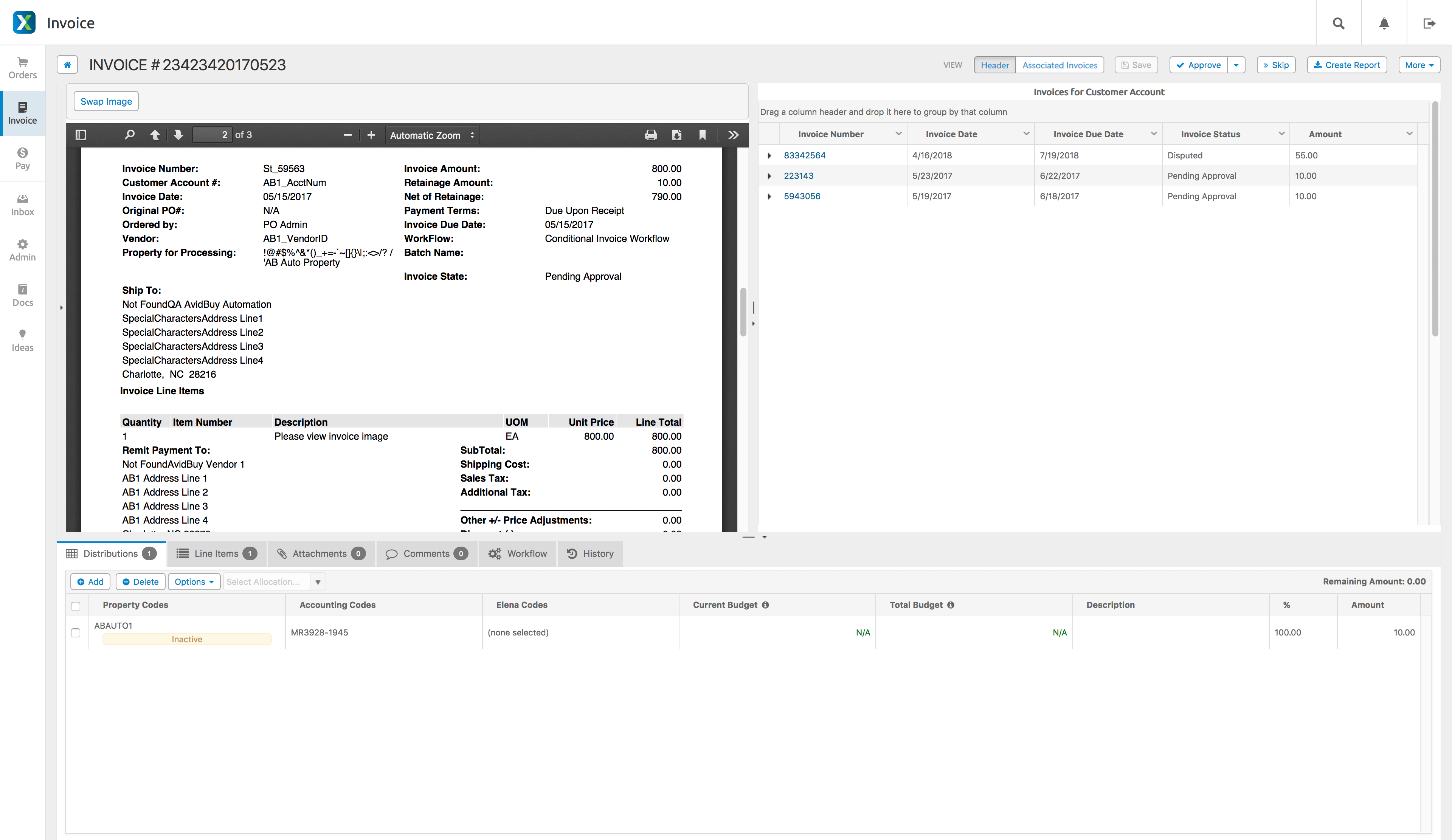 AvidXchange - Associated invoices