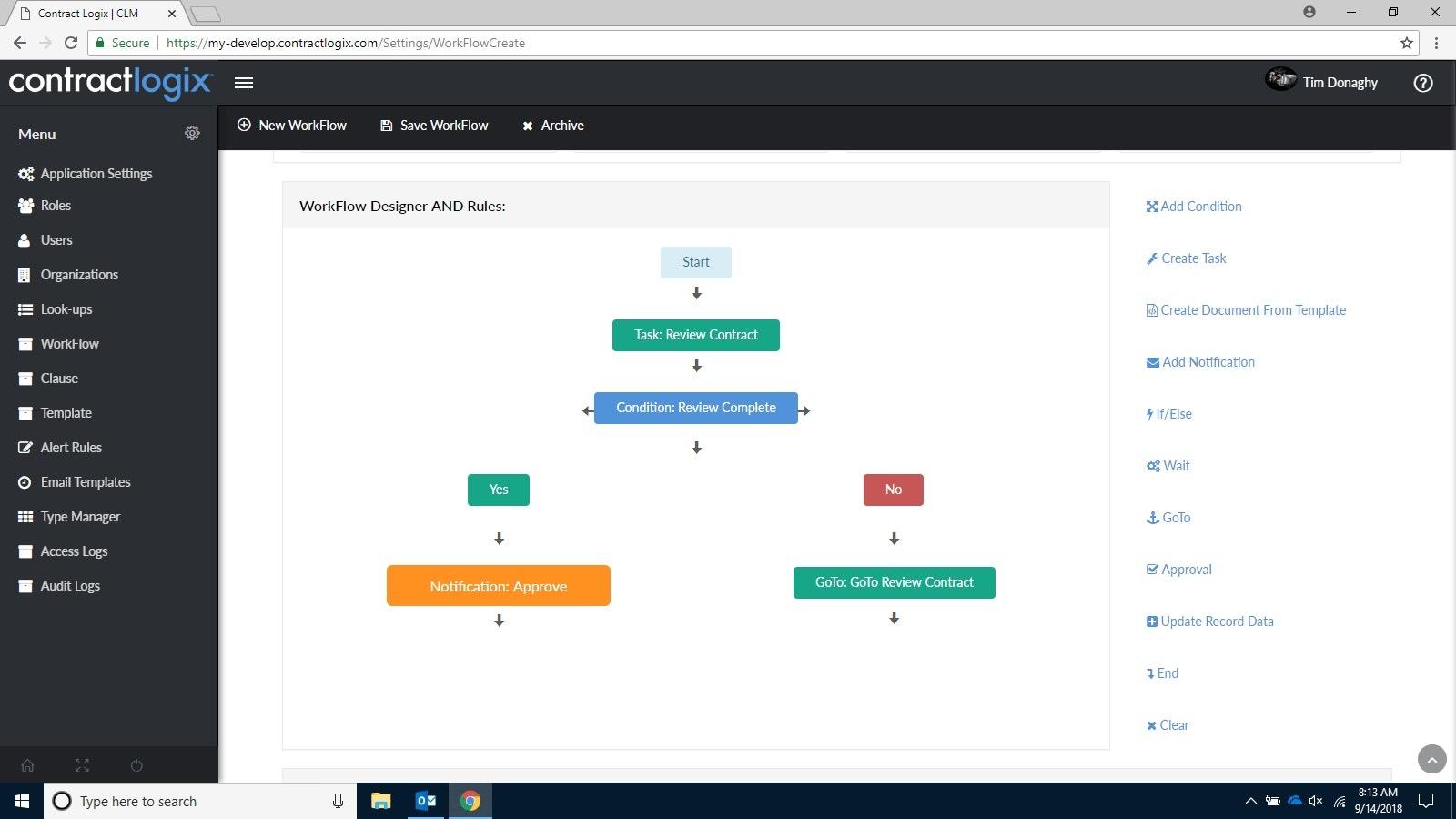 Contract workflow designer
