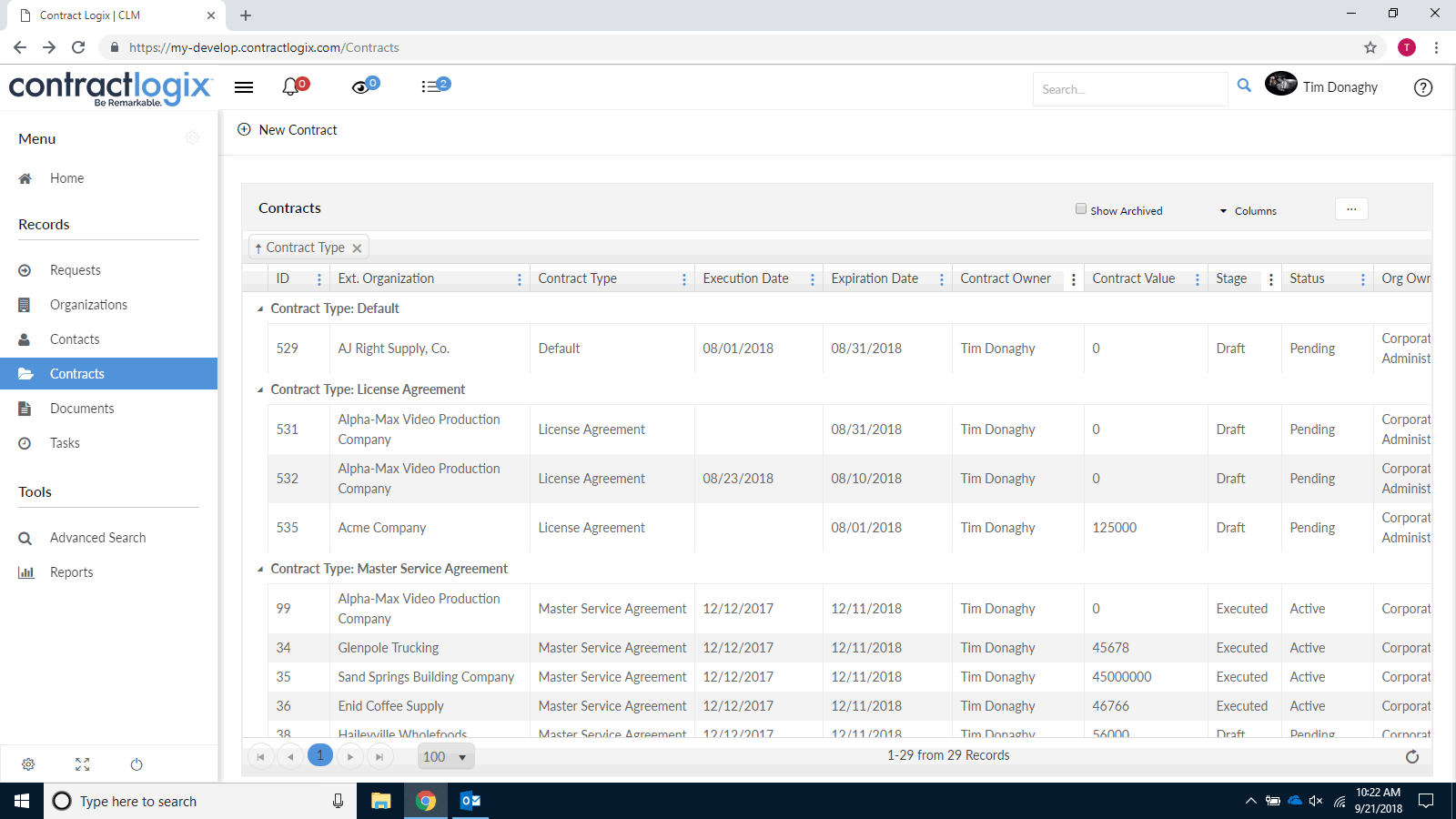Contract repository