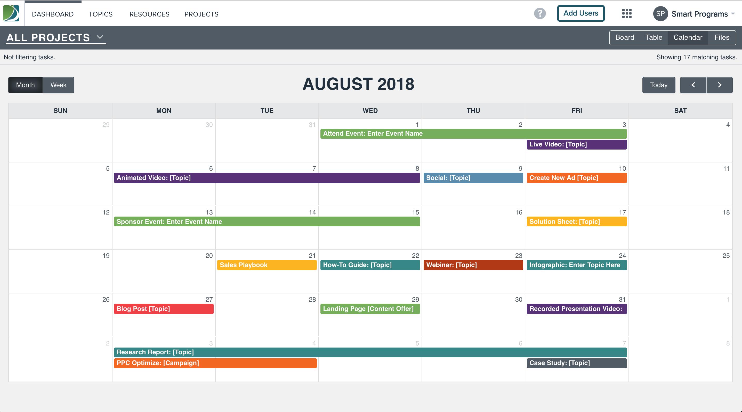 Multi-project calendar