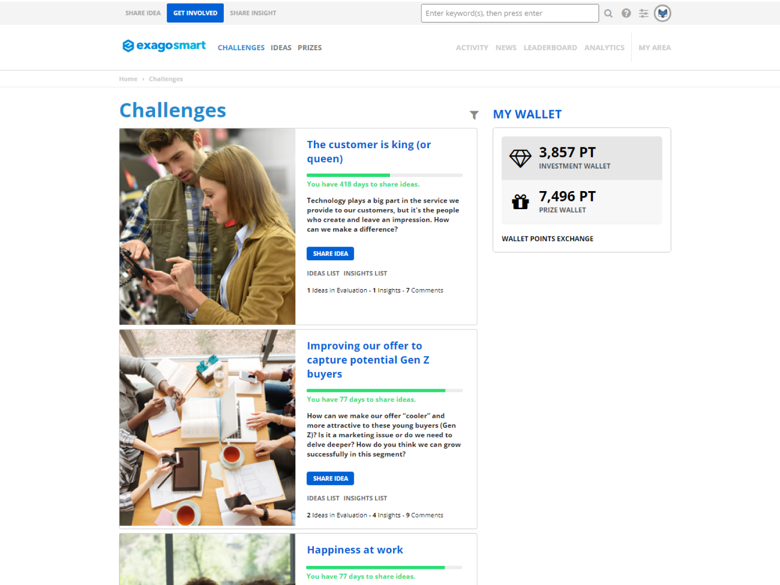 Active challenges page