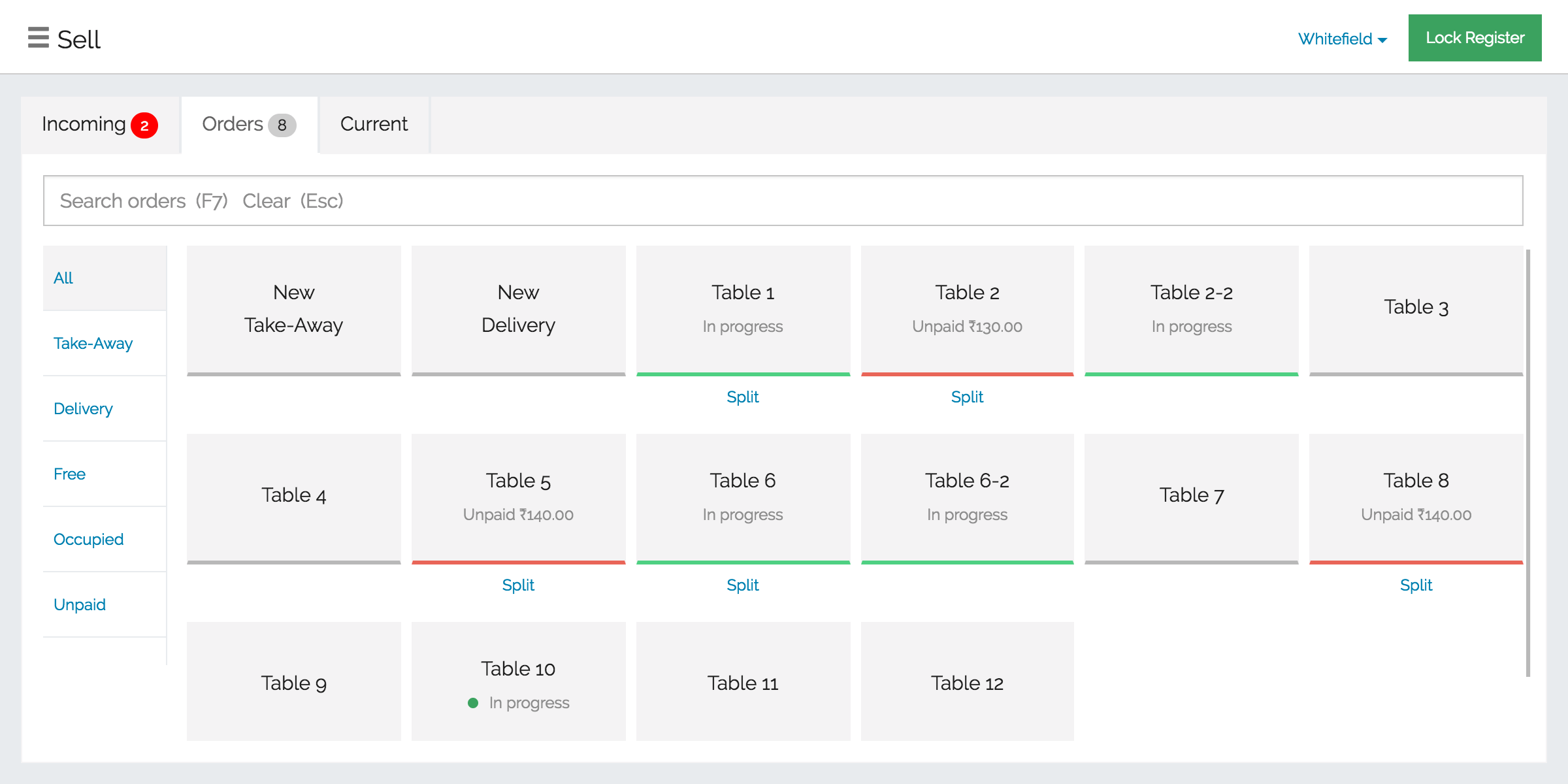 Manage tables