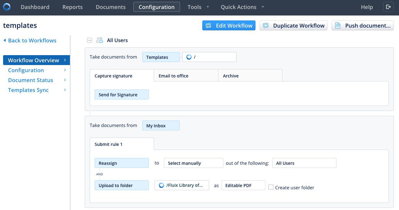 Workflow configuration