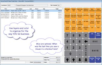 Transaction entry for touchScreen