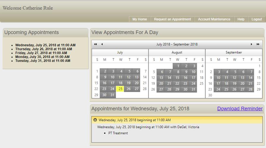 Patient appointment portal