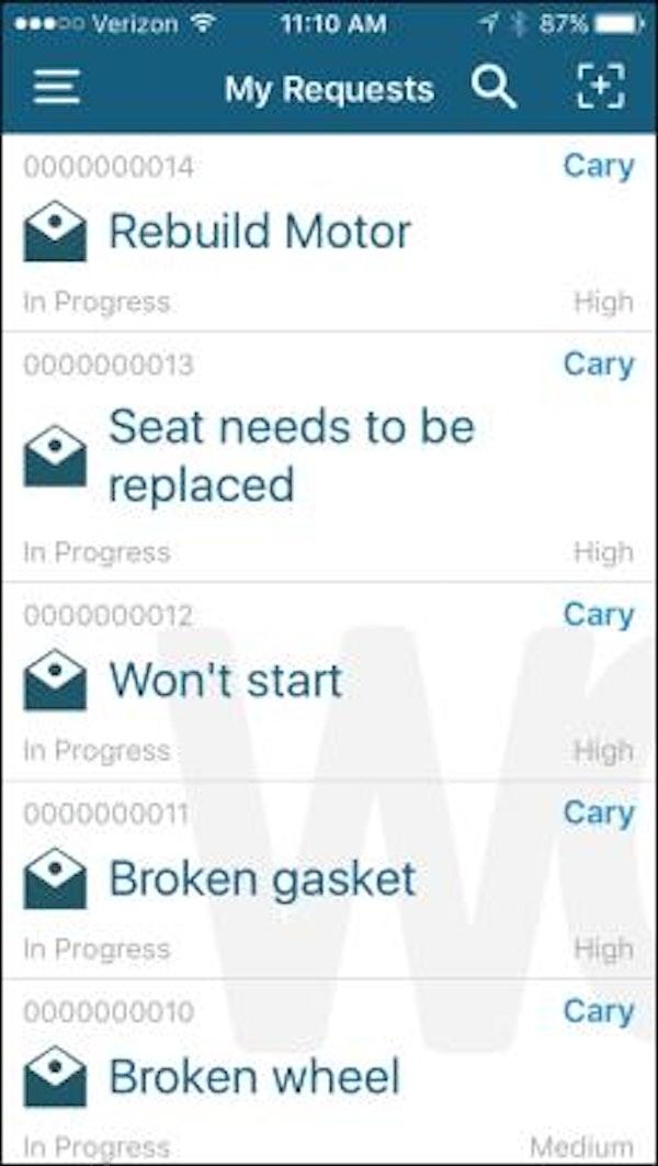 Mobile app view of work orders
