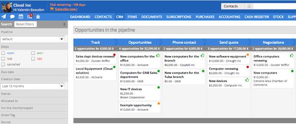 Sellsy - CRM pipeline