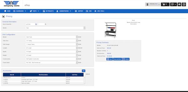 eRep pricing configurator