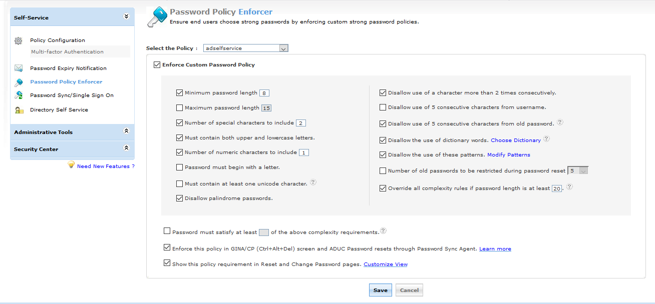 Password policy enforcer