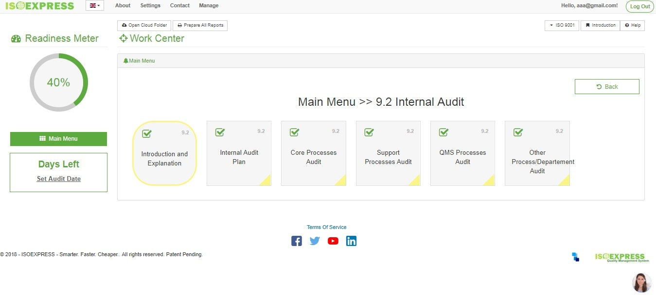 Internal audit menu