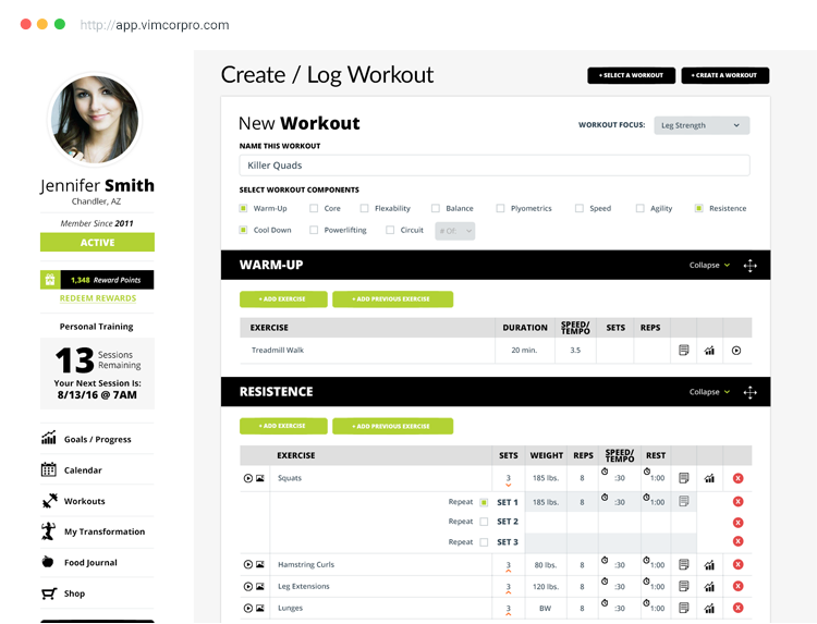Create or log workouts