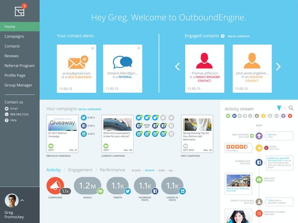 OutboundEngine - Dashboard home screen