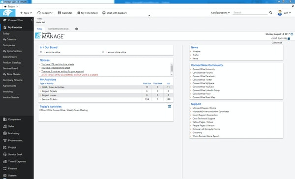 ConnectWise Manage dashboard screenshot