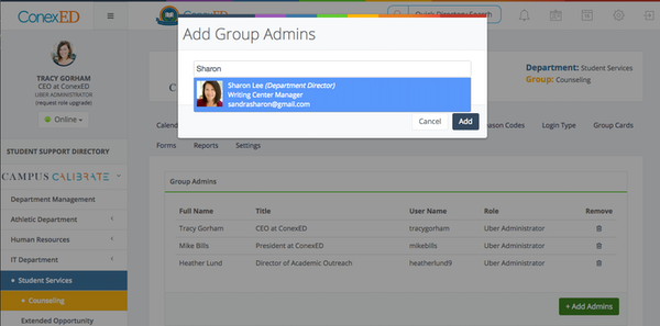 Adding group admins