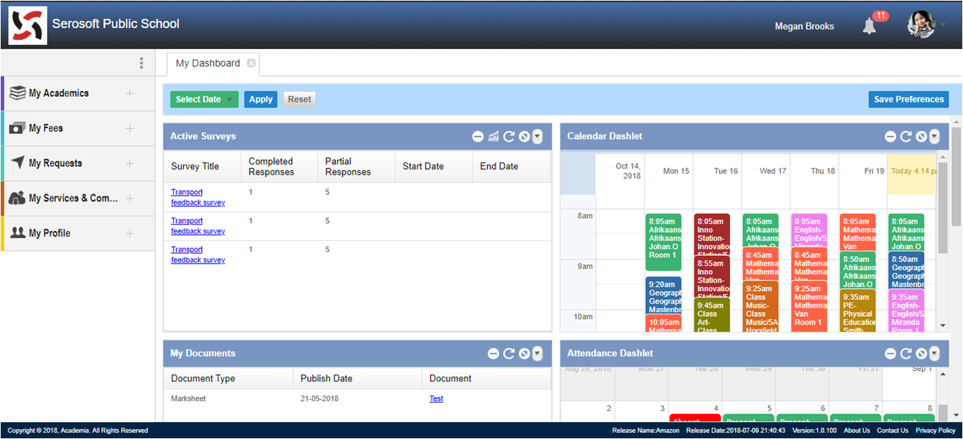 Dashboard with schedule