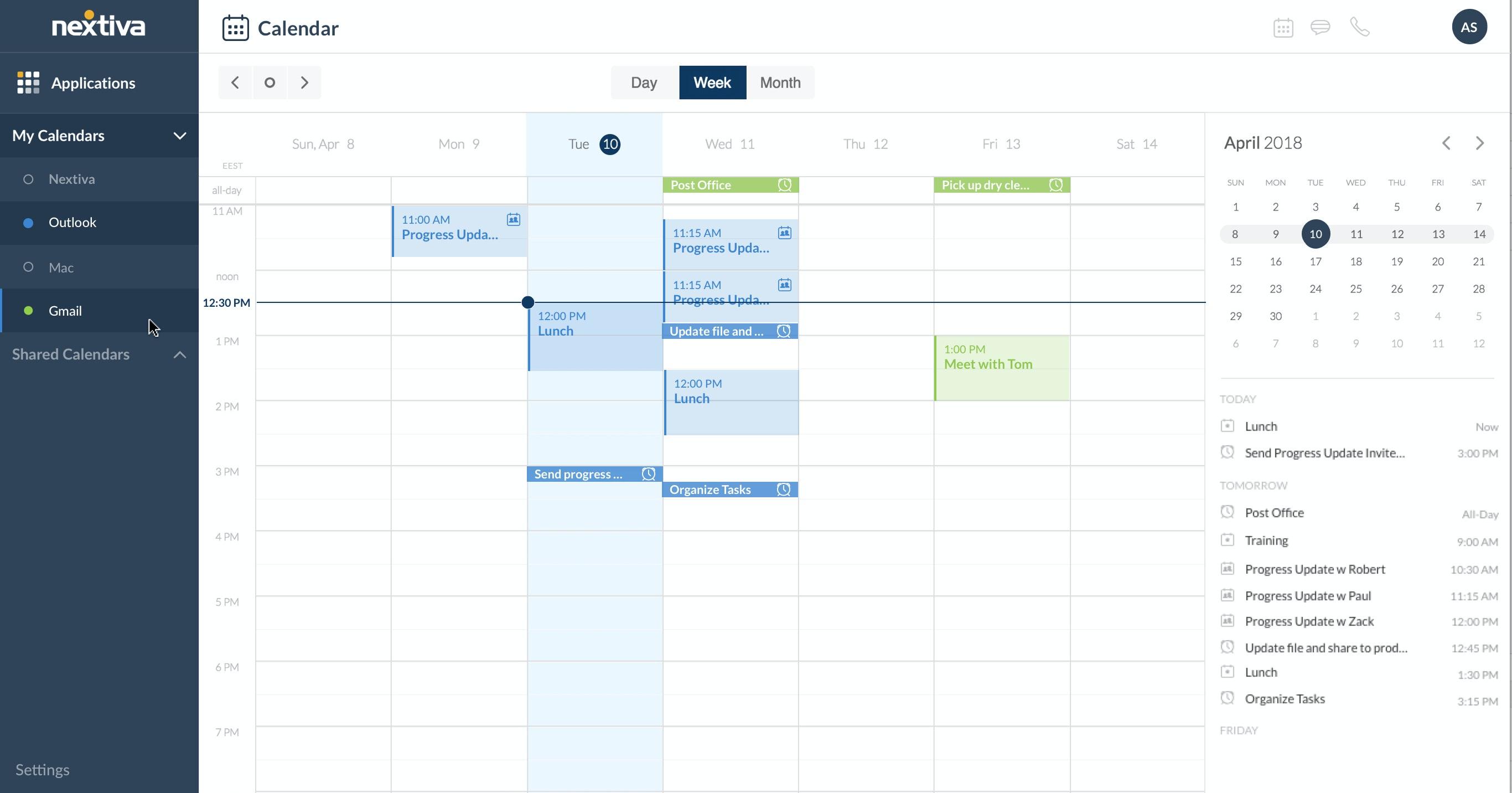 Nextiva calendar