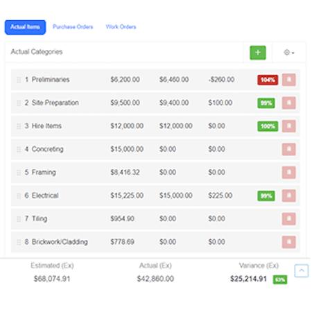 Buildxact item cost tracking screenshot