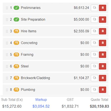 Buildxact item costings screenshot