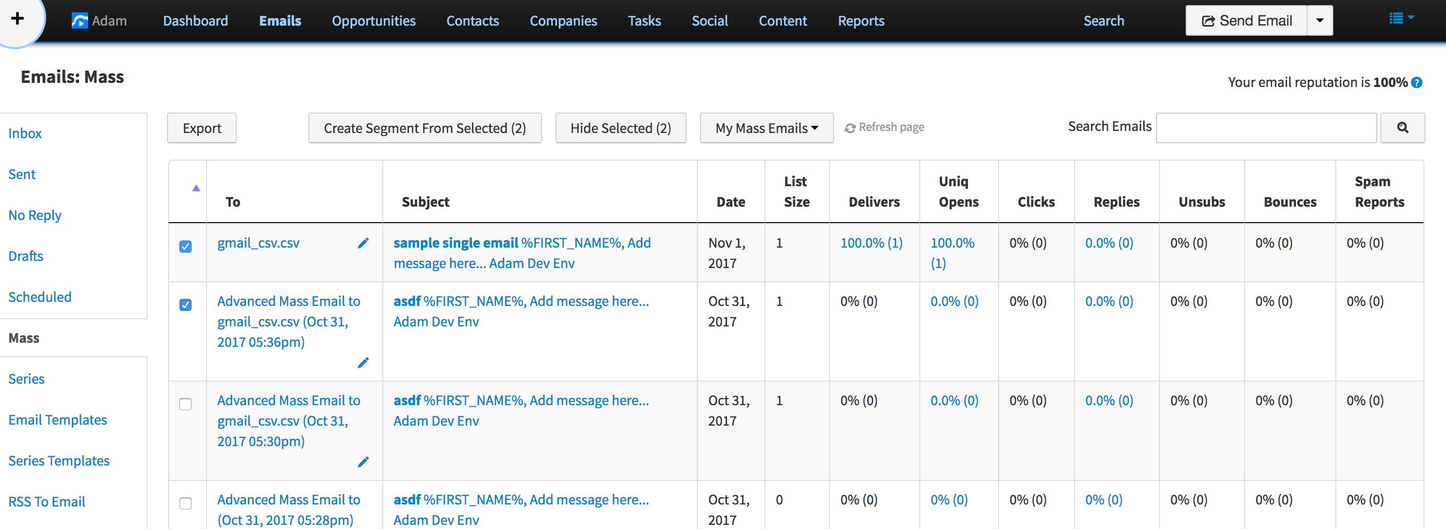 Bulk email management and segmenting