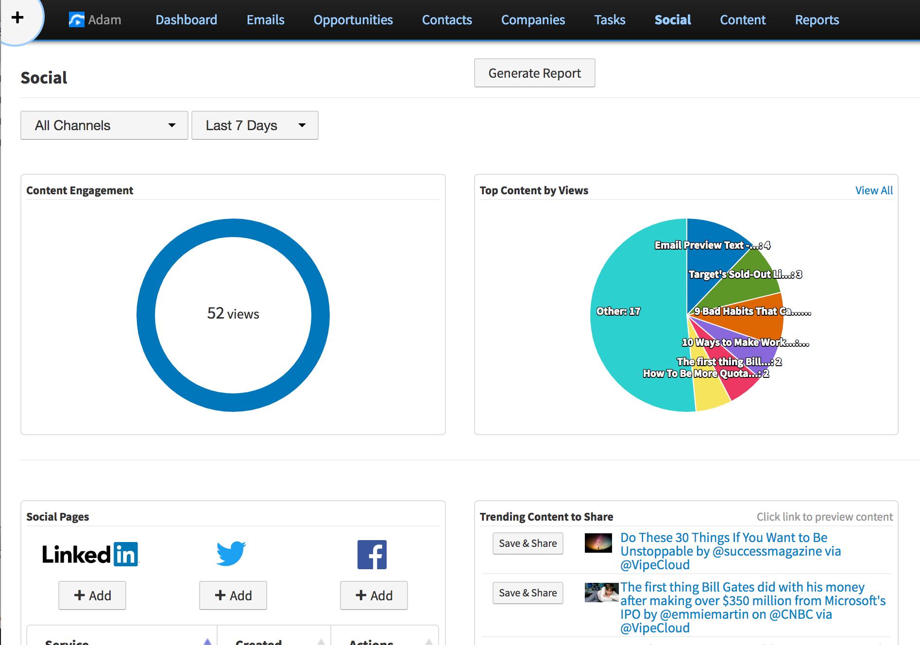 Social sharing reports