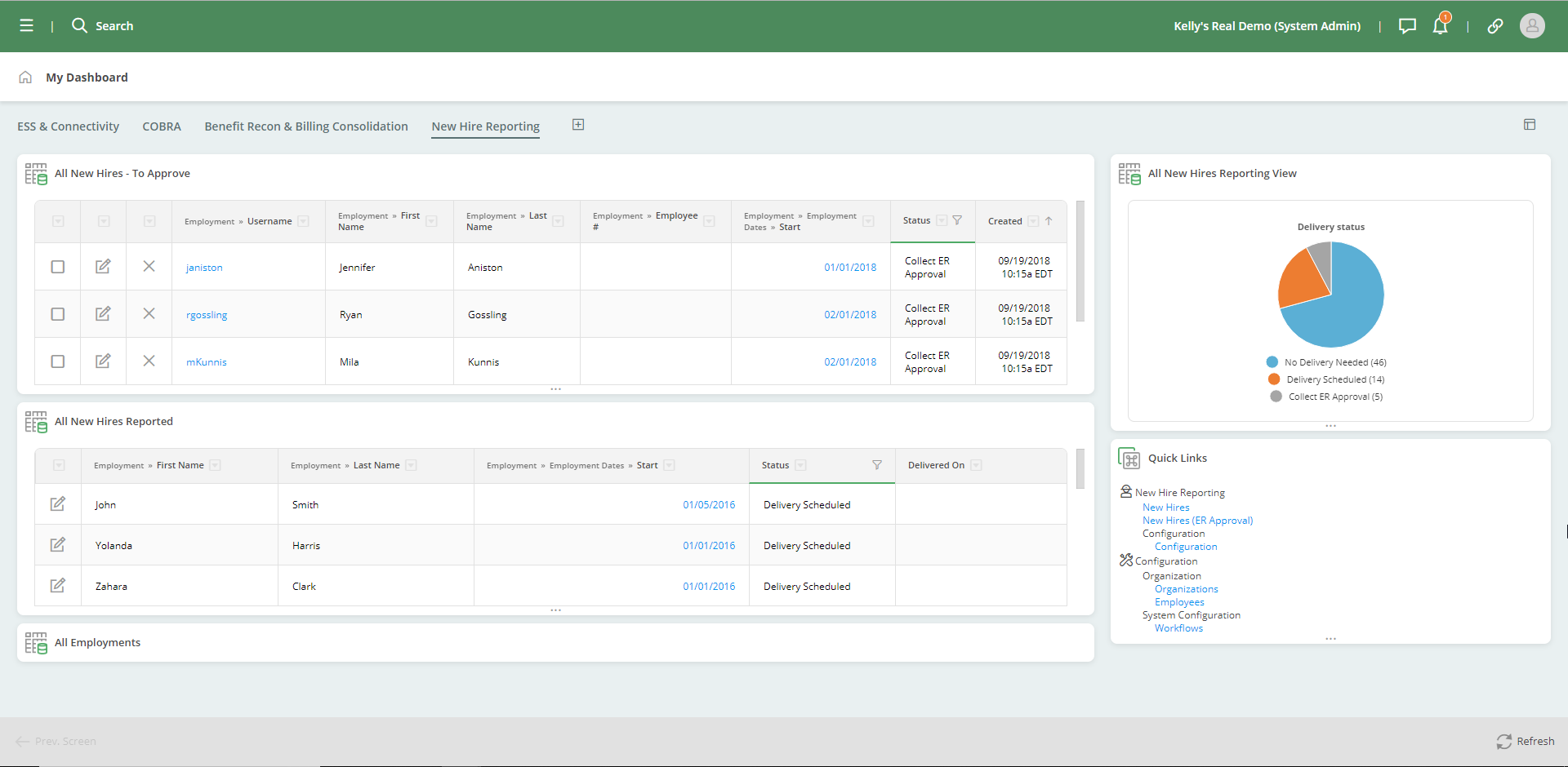 New hire reporting dashboard