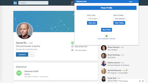 LinkedIn profile import