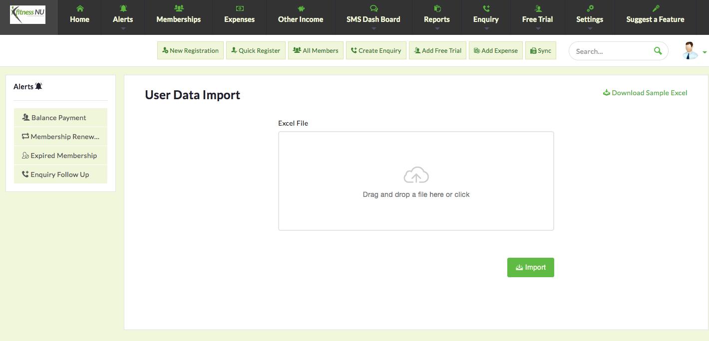 User data import