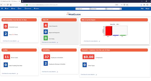 ITCS-WebClock Dashboard