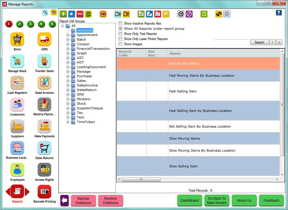HDPOS Smart - Analytical reports
