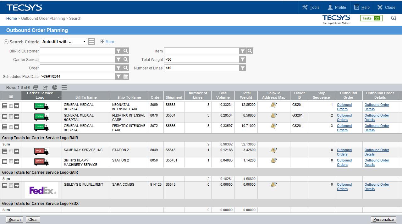 TECSYS EliteSeries - Order planning