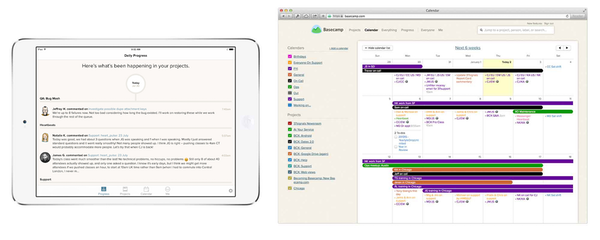Calendar view for projects and tasks