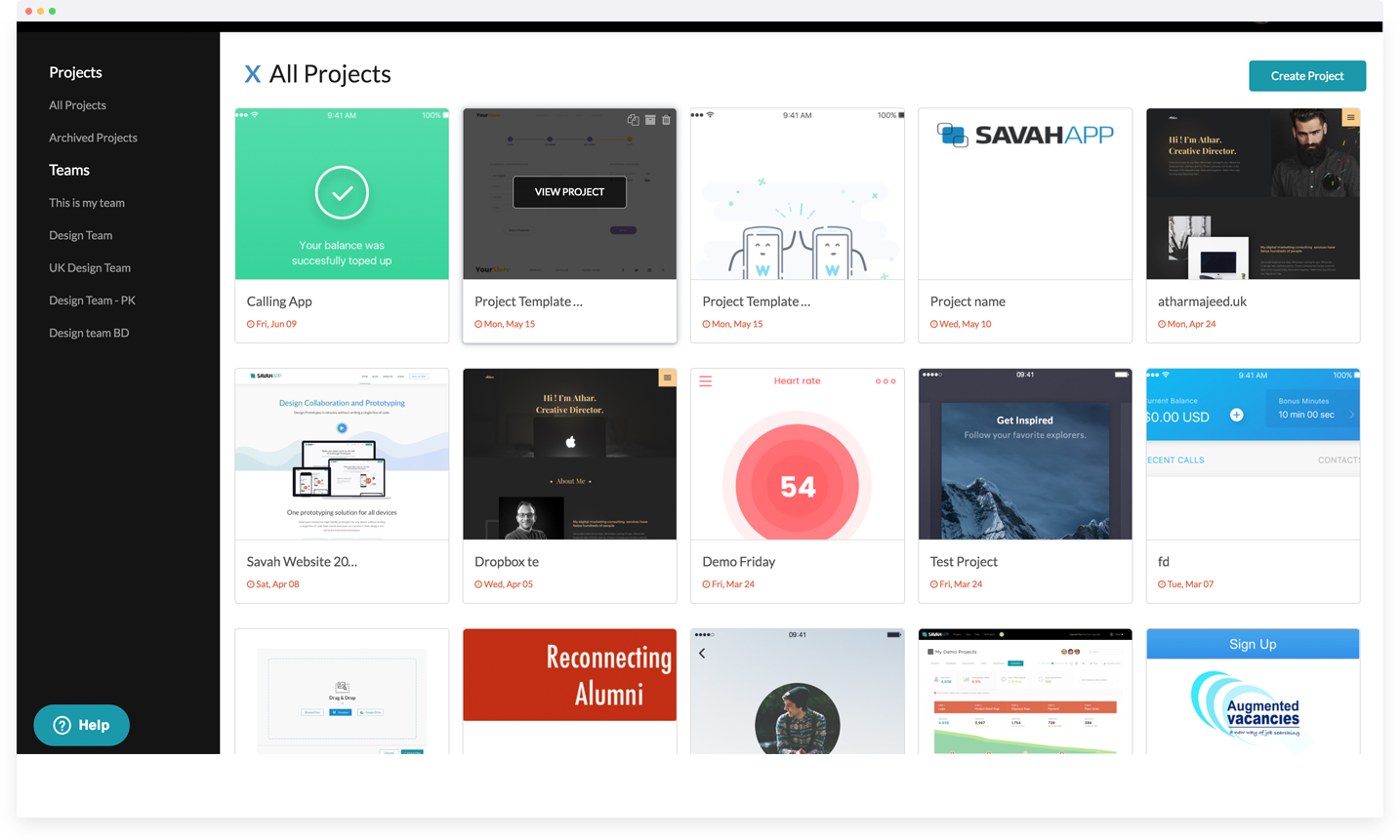 Projects list
