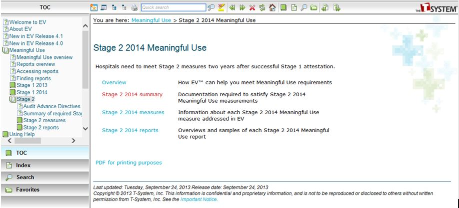 Meaningful use summary