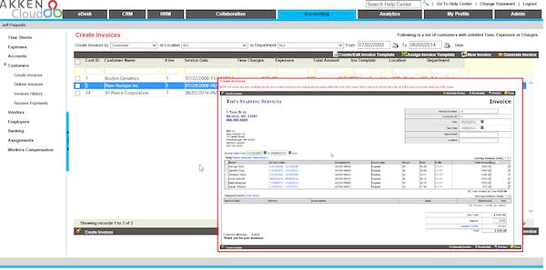 Invoice functionality