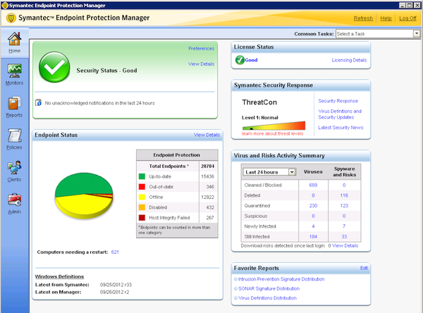 Symantec Endpoint Protection - Endpoint protection console