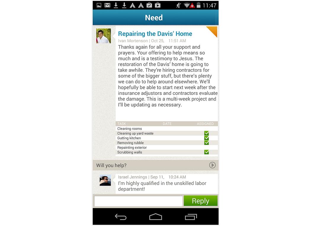 Volunteer coordination on mobile