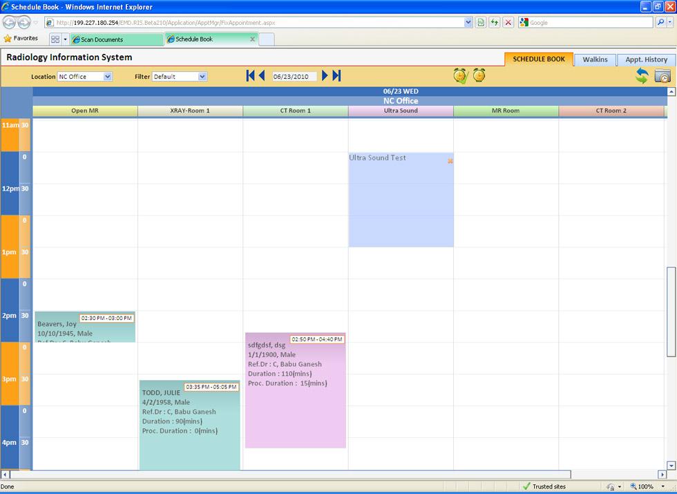 RIS schedule