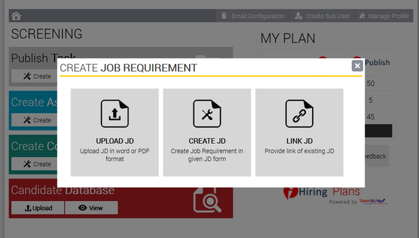 Job requirement creator