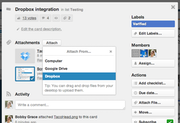Trello - File-sharing with Dropbox