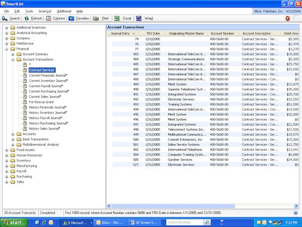 Microsoft Dynamics GP - Account transactions