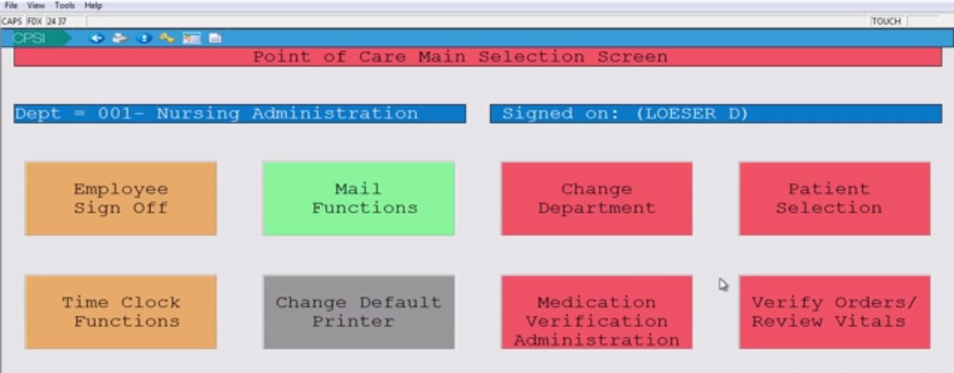 Point of care main screen