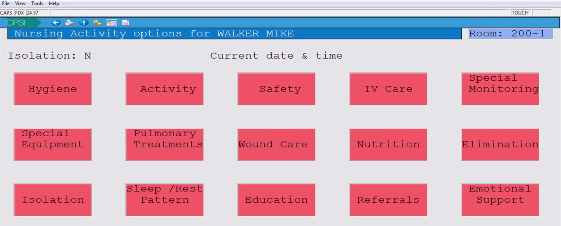 Patient activity menu