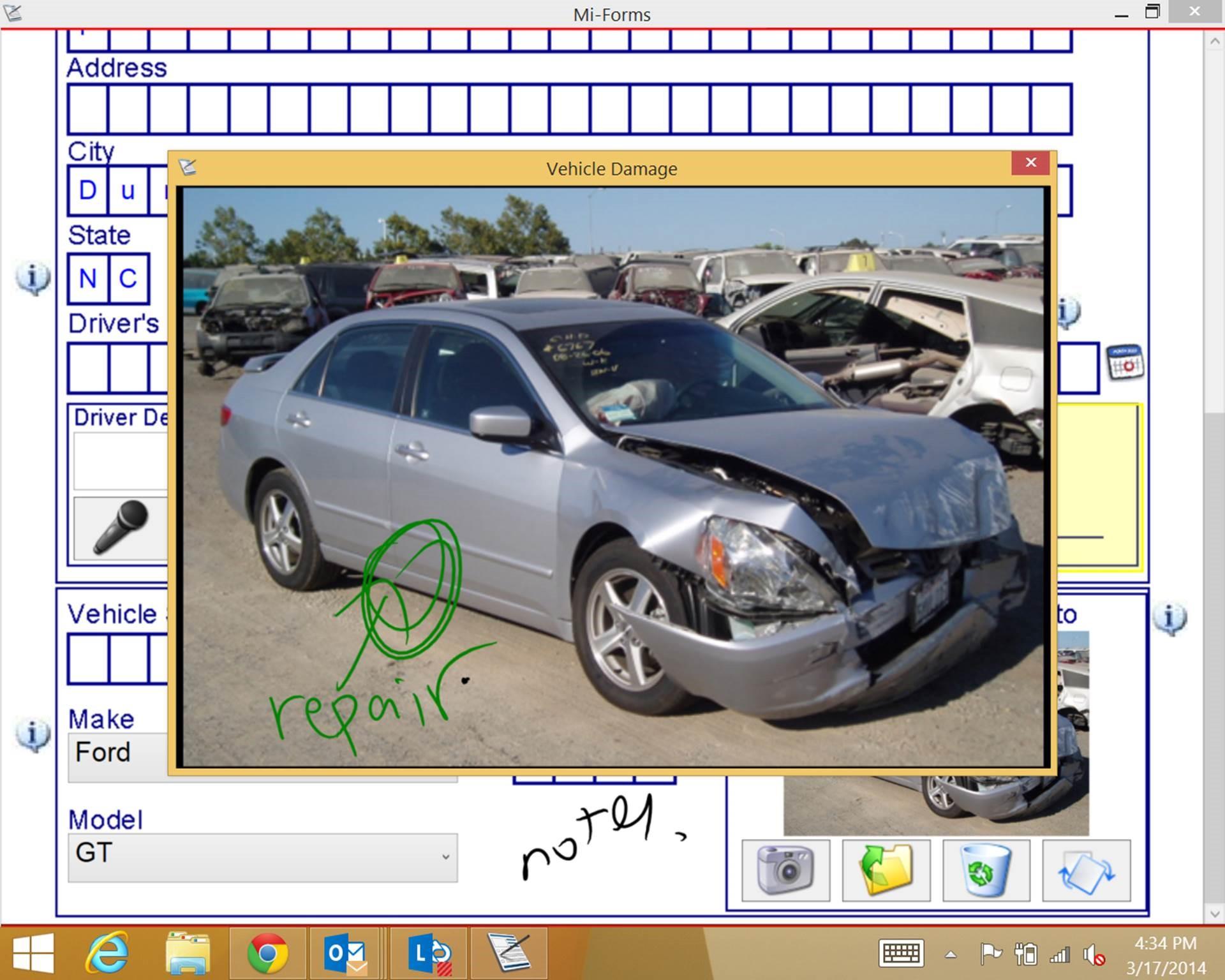 Photo of vehicle damage