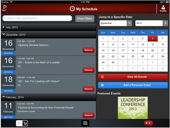 Schedule on mobile device