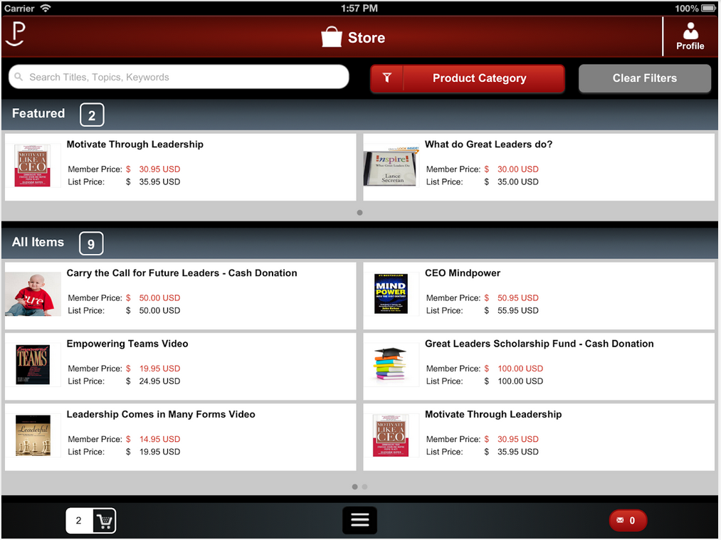 Ecommerce on mobile device