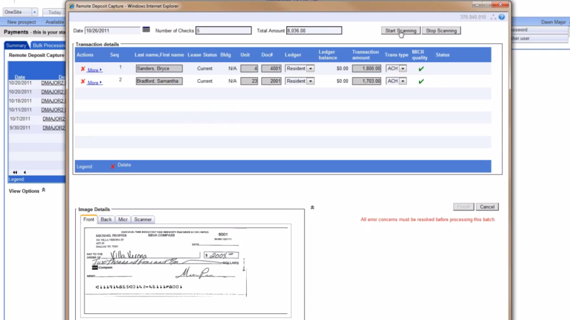 Processing checks
