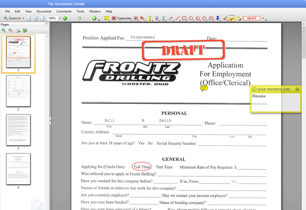 Application draft